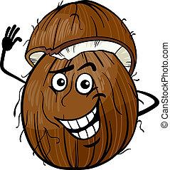 zabawny, orzech kokosowy, owoc, rysunek, ilustracja