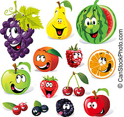 zabawny, owoc, rysunek