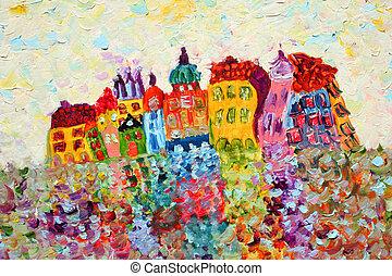 zabawny, painting., domy