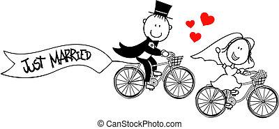 zabawny, panna młoda i oporządzają, na, rowery