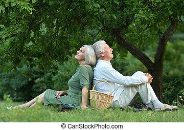 zabawny, para, stary, lato, park