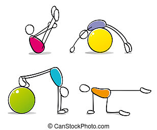 zabawny, pilates, practicing, osoby