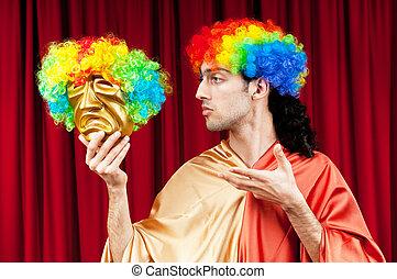 zabawny, pojęcie, teatr, maks, aktor