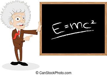 zabawny, profesor, pokaz, tablica