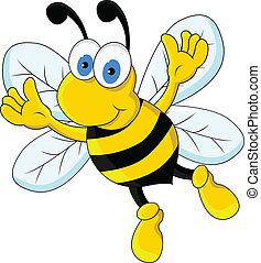 zabawny, pszczoła, rysunek, litera