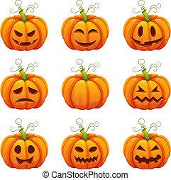 zabawny, różny, halloween, rysunek, faces., dynia