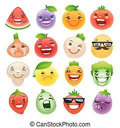 zabawny, różny, warzywa, wzruszenia, owoce, rysunek