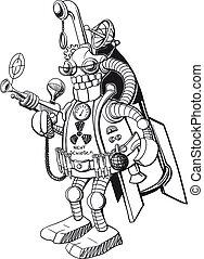 zabawny, robot, wojskowy