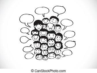 zabawny, rys, tłum, ludzie, twarz, narody