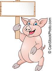 zabawny, rysunek, świnia