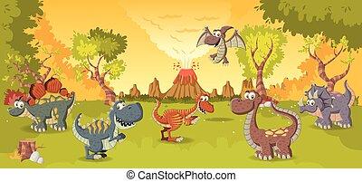 zabawny, rysunek, dinosaurs., las, wulkan