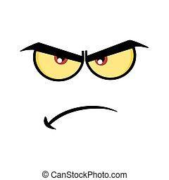 zabawny, rysunek, gniewny, wyrażenie, twarz, zrzędny