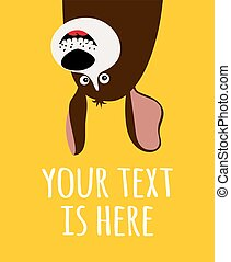 zabawny, rysunek, karta, pies