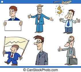 zabawny, rysunek, komplet, litery, biznesmeni
