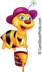 zabawny, rysunek, pszczoła