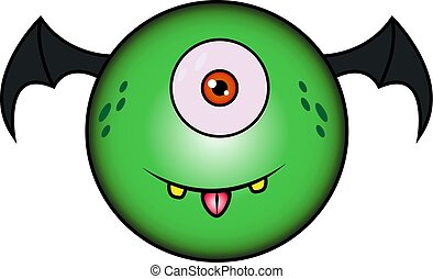 zabawny, rysunek, zielony potwór, skrzydełka