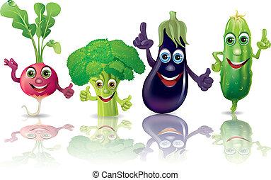 zabawny, rzodkiewki, warzywa, ogórek, brokuł, oberżyna