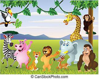zabawny, safari, zwierzę, rysunek