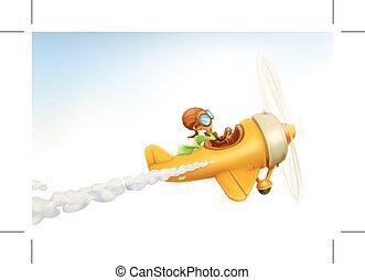 zabawny, samolot, żółty