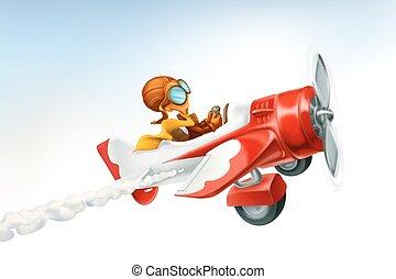 zabawny, samolot, odizolowany, wektor, tło, biały, rysunek,...