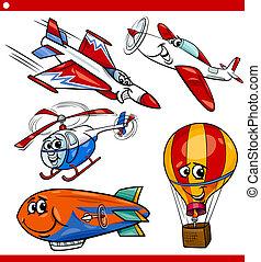zabawny, samolot, pojazd, komplet, rysunek