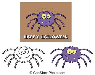 zabawny, spider., komplet, zbiór