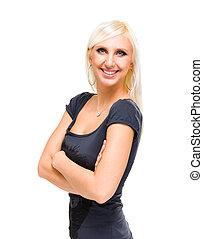 zabawny, sprytny, uśmiechnięta kobieta, na białym, tło