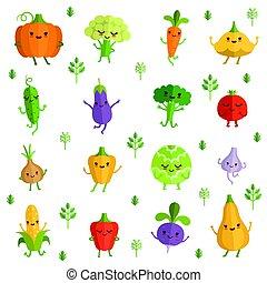 zabawny, styl, warzywa, ilustracja, wektor, emotions., litery, komik