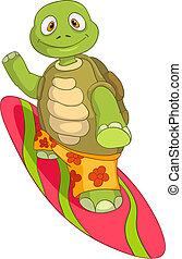 zabawny, surfing., turtle.