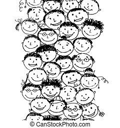 zabawny, tłum, seamless, projektować, tło, narody, twój