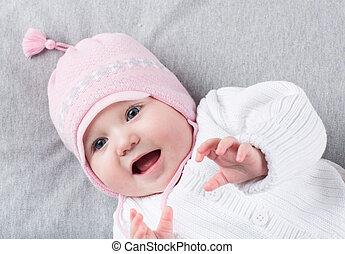 zabawny, trykotowy, ciepły, dziewczyna niemowlęcia, kapelusz