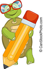 zabawny, turtle., writing.