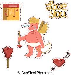 zabawny, valentine, majchry, rysunek, dzień