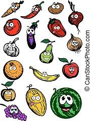 zabawny, warzywa, rysunek, litery, owoce