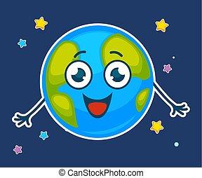 zabawny, wizerunek, ilustracja, planeta, wektor, ziemia, uśmiechanie się