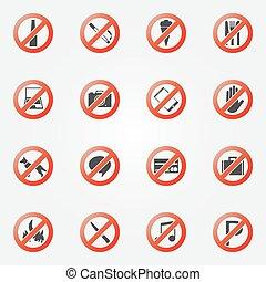 zabroniony, albo, ograniczenie, ikony, komplet