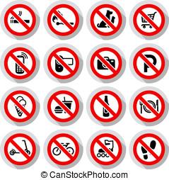 zabroniony, symbolika, komplet