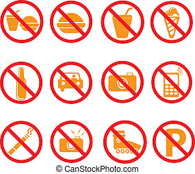 zabroniony, symbolika, komplet, znaki, vecto