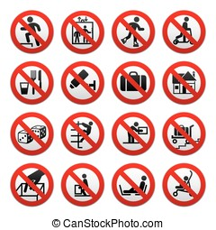 zabroniony, znaki, komplet