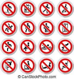 zabroniony, znaki, papier, lepki