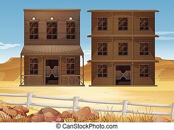 zabudowanie, gruntowy, dwa, pustynia