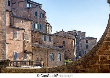 zabudowanie, historyczny, siena, italy: