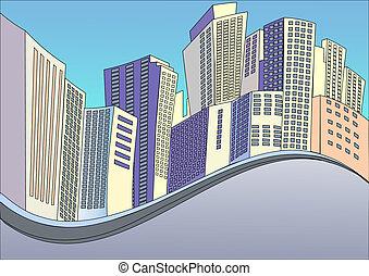 zabudowanie, tło, nowoczesny, miasto