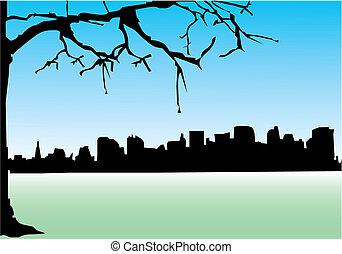 zabudowanie, z, niejaki, wieża, i, drzewo