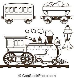 zachód, konturowany, pociąg, stary