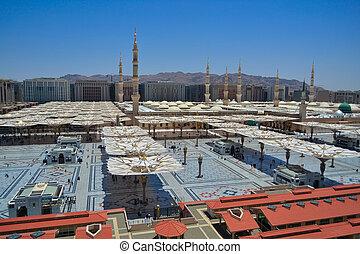 zachód, nabawi, meczet, bok