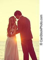 zachód słońca, ślub