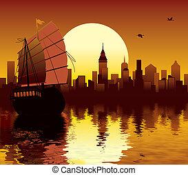 zachód słońca, asian