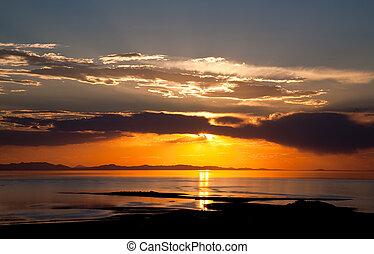 zachód słońca, barwny, th