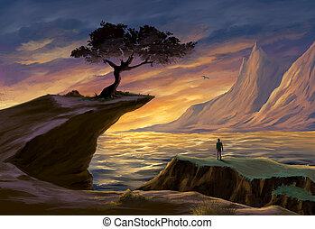 zachód słońca, drzewo, morze, urwisko
